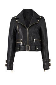Black Leather Biker Jacket by Nicholas for $135 | Rent the Runway