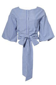 Blue Striped Tie Blouse by J.O.A.