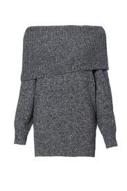 Dark Grey Tweed Femie Sweater by Joie
