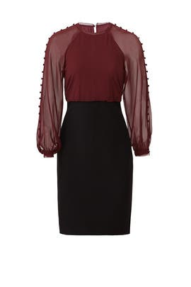 Maroon Blouson Dress by Badgley Mischka