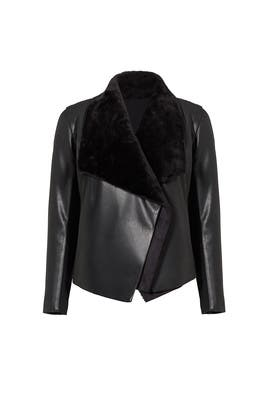 Black Faux Fur Draped Leather Jacket by BB Dakota