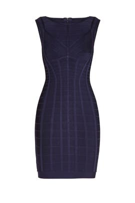 Navy Aida Novelty Bandage Dress by Hervé Léger