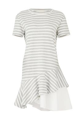Striped Ruffle Hem Dress by KINLY