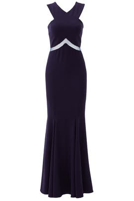 Navy Chevron Cutout Gown by Mignon