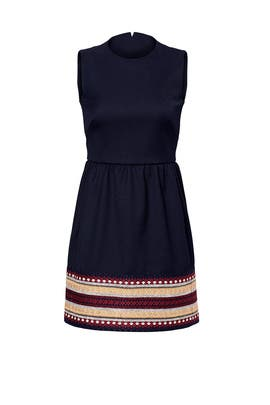 Embroidered Hem Navy Dress by RED Valentino