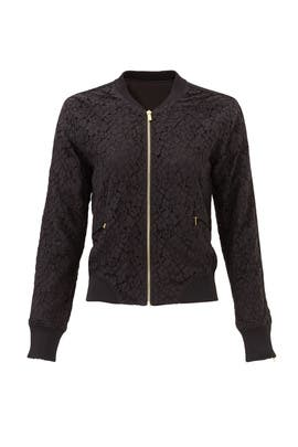 Black Floral Lace Bomber Jacket by 10 CROSBY DEREK LAM