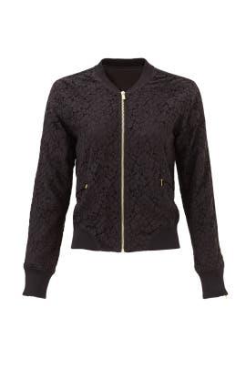 Black Floral Lace Bomber Jacket by Derek Lam 10 Crosby