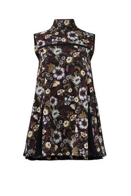 Black Floral Godet Top by ADEAM