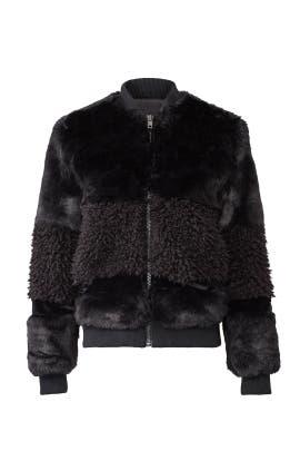 Black Faux Fur Bomber by John + Jenn