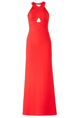 Red Cutout Halter Gown by Aidan Mattox