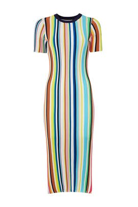 Rainbow Stripe Knit Dress by Milly