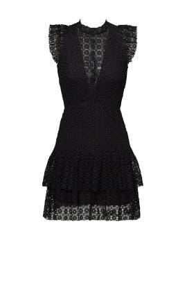 Black Foil Geo Ruffle Dress by Slate & Willow