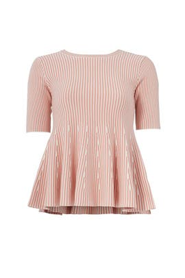 Pink Knit Peplum Top by English Factory