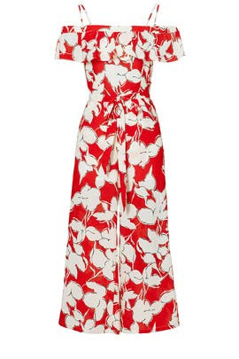 Red Floral Off Shoulder Jumpsuit by J.O.A.