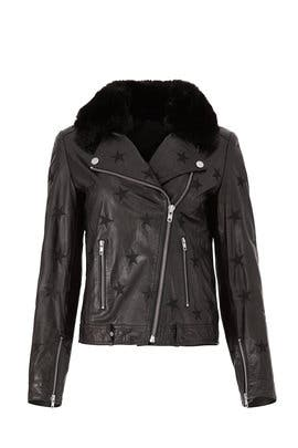Black Seeing Stars Faux Fur Jacket by Samantha Sipos