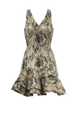 Gold Foil Printed Dress by Josie by Natori