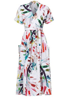 White Floral Wrap Dress by Mara Hoffman