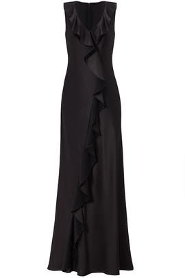 Black Ruffle Gown by Aidan Mattox