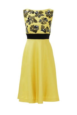 Graphic Citrine Dress by Lela Rose