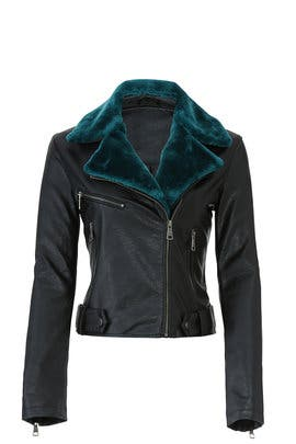 Teal Collar Faux Leather Jacket by VIGOSS