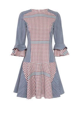 Mixed Gingham Dress by Badgley Mischka