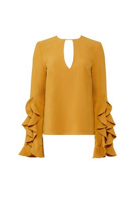 Yellow Crew Neck Top by C/MEO COLLECTIVE