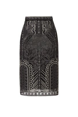 Silver Embroidered Skirt by Marchesa Notte