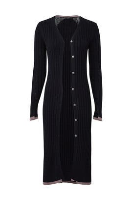 Black Ribbed Cardigan by Michael Stars