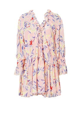 Pink Printed Ruffle Dress by See by Chloe