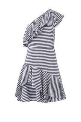 Grey Stripe Ruffle Dress by Halston Heritage