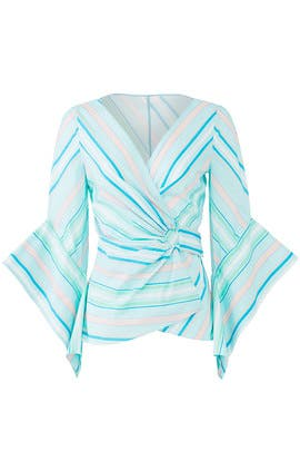 Mint Stripe Wrap Top by Peter Pilotto