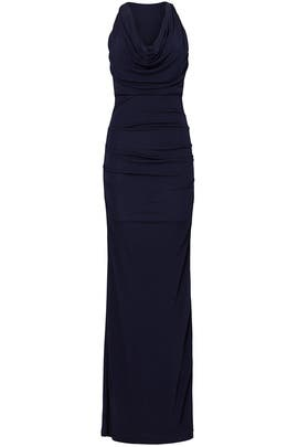 Navy Column Gown by Cut 25