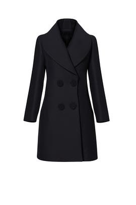Black Shawl Collar Coat by DEREK LAM