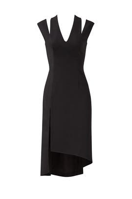 Black Slit Asymmetrical Dress by Halston Heritage