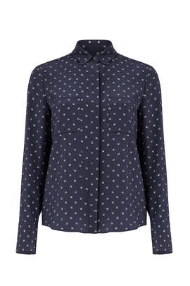 Navy Refined Dot Button Down by VINCE.