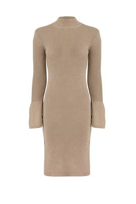 Beige Side Slit Sweater Dress by EVIDNT