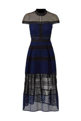 Crosshatch Midi Dress by Self-portrait