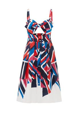 Inkblock Print Jordan Tie Dress by Milly