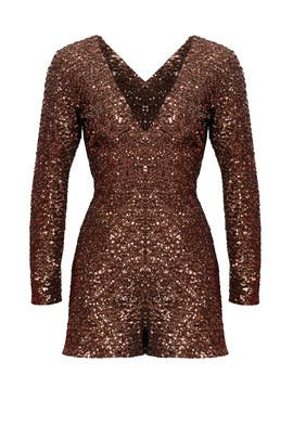 Antique Bronze Sequin Romper by Dress The Population