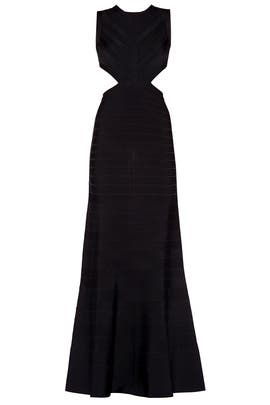 Black Cassandra Signature Essentials Gown by Hervé Léger