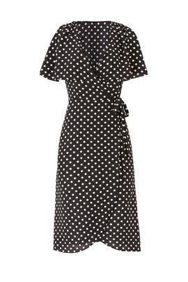 Black Polka Dot Wrap Dress by Slate & Willow