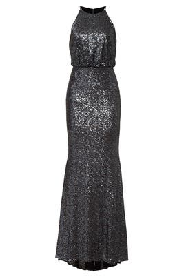 Navy Sequin Blouson Gown by Badgley Mischka
