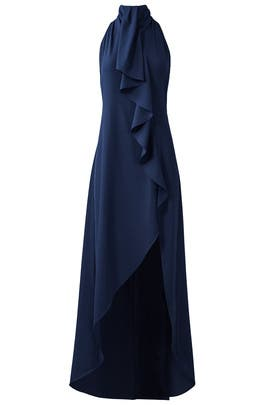 Midnight Asymmetrical Ruffle Gown by Haute Hippie