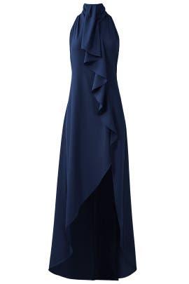 Midnight Asymmetrical Ruffle Gown by Haute Hippie