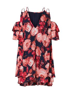Rose Floral Cold Shoulder Dress by Dina Agam