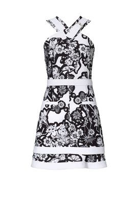 Carven White Floral Printed Buckle Dress