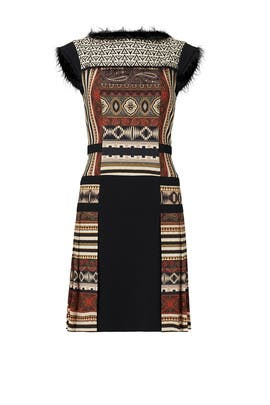 Ivory Aztec Fringe Dress  by ETRO