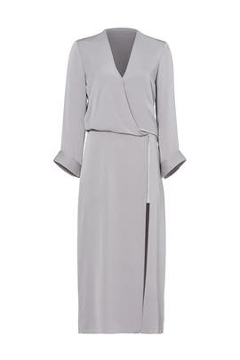 Grey Silver Faux Wrap Dress by Halston Heritage