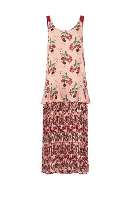 Pink Floral Pleated Dress by Mother of Pearl