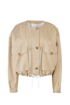 Khaki Drawstring Jacket by Badgley Mischka